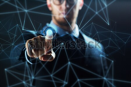 ビジネスマン バーチャル ネットワーク ホログラム ビジネスの方々  将来 ストックフォト © dolgachov