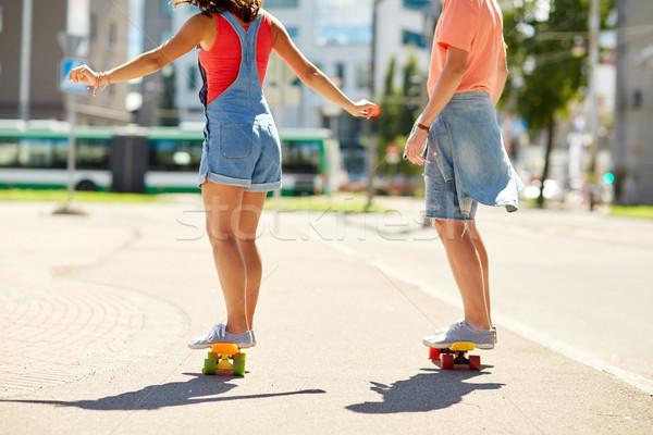十代の カップル ライディング 街 夏 ストックフォト © dolgachov
