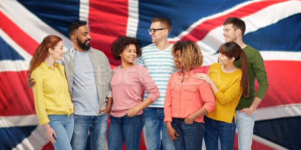 Nemzetközi csoportkép brit zászló diverzitás verseny nemzetiség Stock fotó © dolgachov