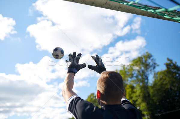 Portero pelota fútbol objetivo campo deporte Foto stock © dolgachov