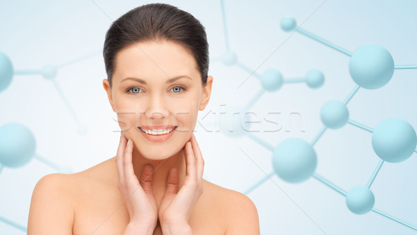Mooie jonge vrouw gezicht moleculen schoonheid mensen Stockfoto © dolgachov