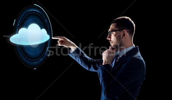 Сток-фото: бизнесмен · черный · облаке · проекция · деловые · люди