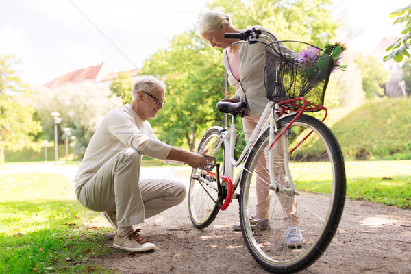 Szczęśliwy starszy para rower lata parku Zdjęcia stock © dolgachov