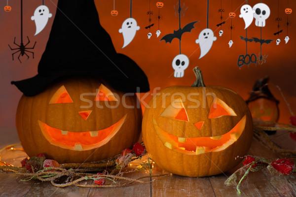 Abóboras chapéu de bruxa halloween grinalda férias decoração Foto stock © dolgachov