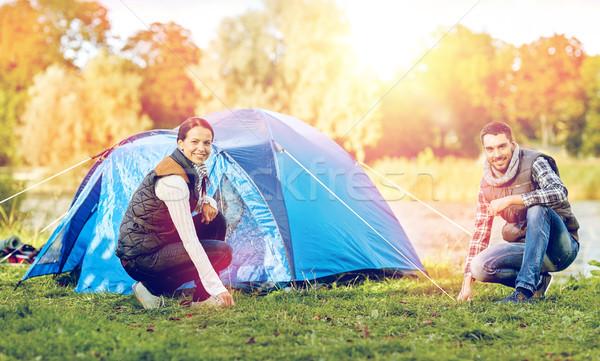 Mutlu çift yukarı çadır açık havada seyahat Stok fotoğraf © dolgachov