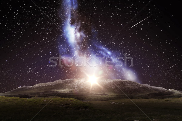 mountain landscape over night sky or space Stock photo © dolgachov