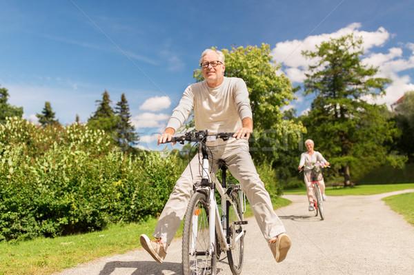 Feliz pareja de ancianos equitación bicicletas verano parque Foto stock © dolgachov
