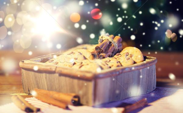 クリスマス 燕麦 クッキー 木製のテーブル 休日 ストックフォト © dolgachov