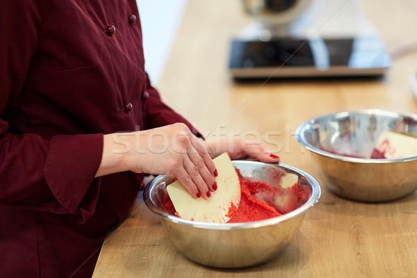 Chef macaron banketbakkerij koken voedsel Stockfoto © dolgachov