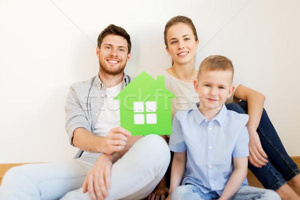 幸福的家庭 溫室 移動 新居 抵押 人 商業照片 © dolgachov