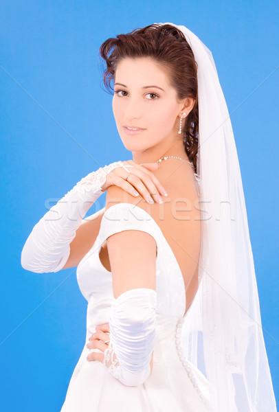 Glücklich Braut Ehering blau Frau Hand Stock foto © dolgachov