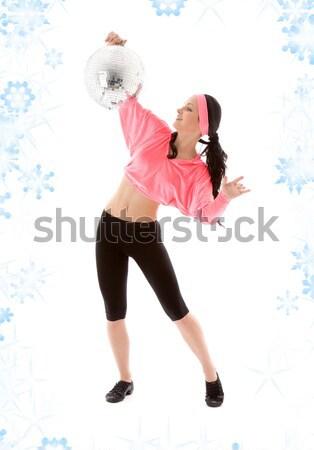 Disco Ball фотография женщину кожа шорты Sexy Сток-фото © dolgachov