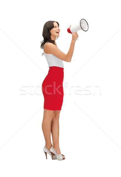 woman in a dress with megaphone Stock photo © dolgachov