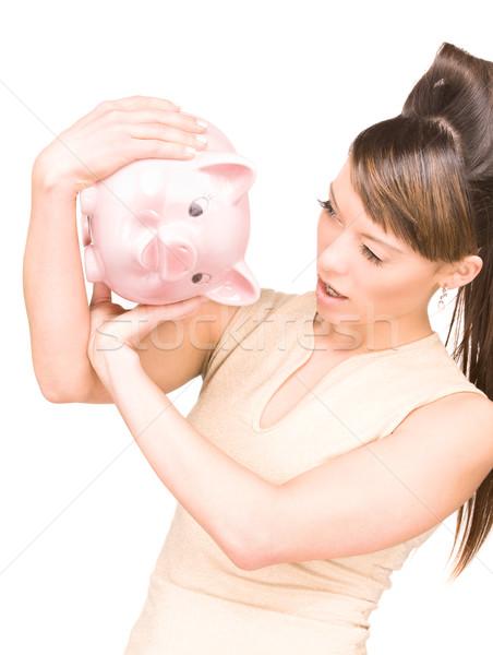 Vrouw spaarvarken foto portret financieren roze Stockfoto © dolgachov
