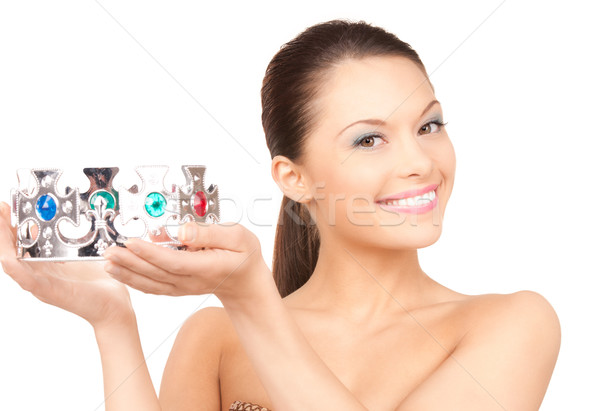 lovely woman in crown Stock photo © dolgachov