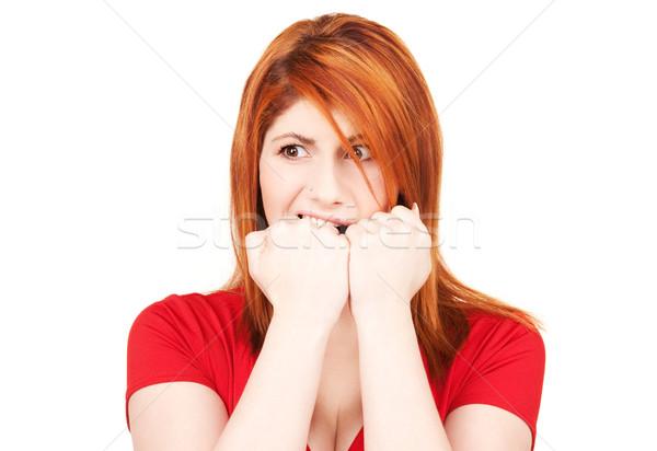 Boldogtalan vörös hajú nő nő kép fehér szomorú Stock fotó © dolgachov