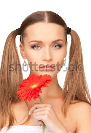 Kobieta rumianek usta zdjęcie piękna kobieta twarz Zdjęcia stock © dolgachov