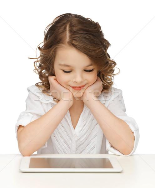 Lány táblagép kép gyönyörű lány gyerekek technológia Stock fotó © dolgachov