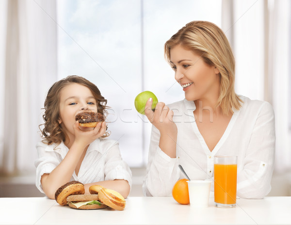 Mère fille saine aliments malsains famille fille Photo stock © dolgachov