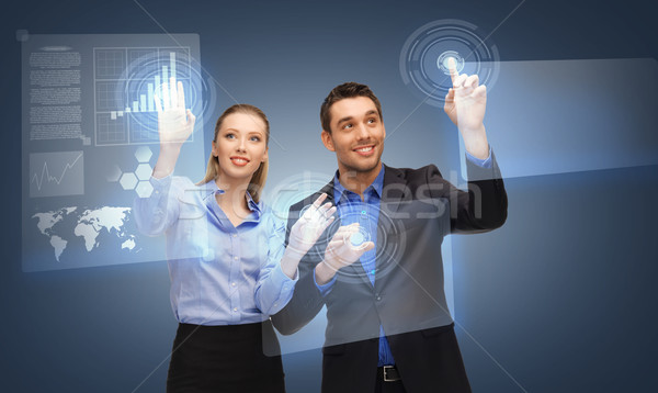Stockfoto: Twee · zakenlieden · werken · virtueel · scherm · foto