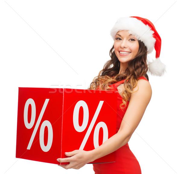 Nő mikulás segítő kalap százalék felirat Stock fotó © dolgachov
