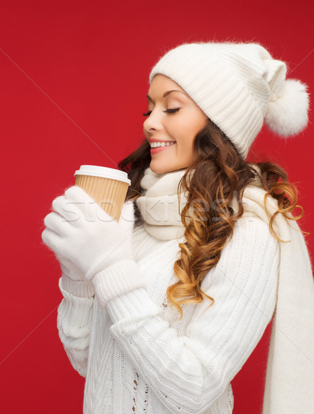 Stock photo: woman in hat with takeaway tea or coffee cup