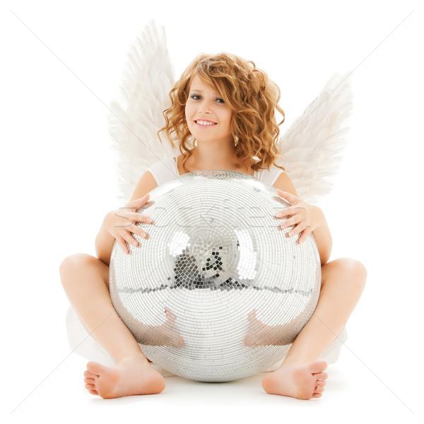 Boldog tini angyal lány diszkógömb ünnepek Stock fotó © dolgachov