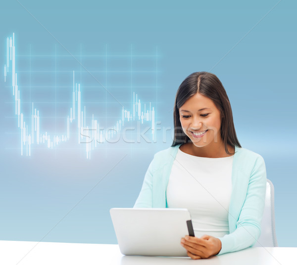 businesswoman or student with tablet pc Stock photo © dolgachov