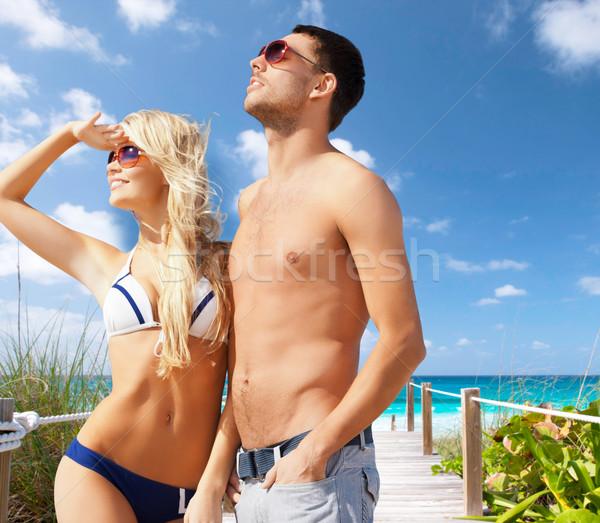 Mooie paar strand zomer vakantie vakantie Stockfoto © dolgachov