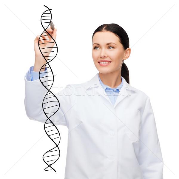 женщины врач рисунок ДНК воздуха здравоохранения Сток-фото © dolgachov