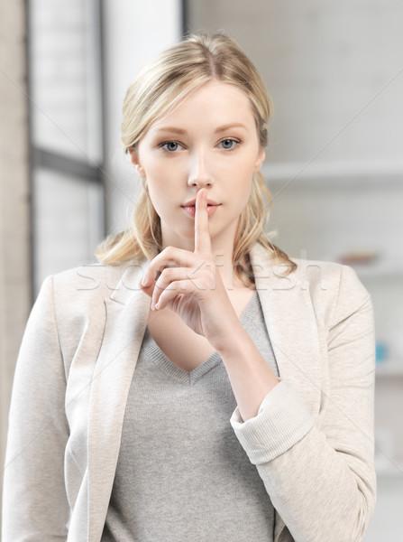 Doigt lèvres affaires jeune femme femme main Photo stock © dolgachov