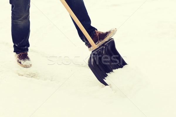 человека снега дорога зима очистки Сток-фото © dolgachov