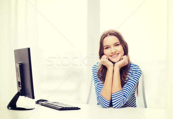 dreaming teenage girl at home Stock photo © dolgachov