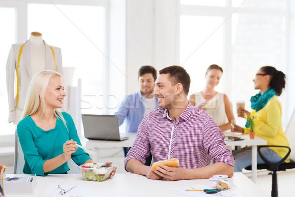 Souriant mode déjeuner bureau démarrage éducation Photo stock © dolgachov