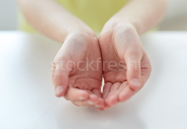 Stock photo: close up of child cupped hands