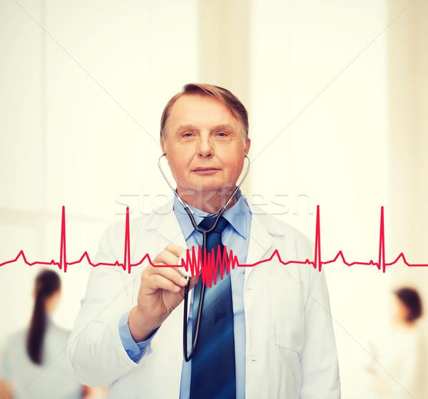 Gülen doktor profesör stetoskop sağlık tıp Stok fotoğraf © dolgachov