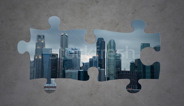 Quebra-cabeça cidade cinza concreto indústria urbanização Foto stock © dolgachov