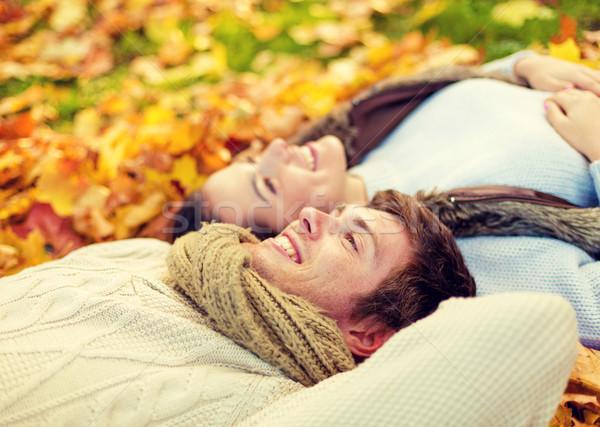 Közelkép mosolyog pár ősz park szeretet Stock fotó © dolgachov