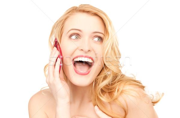 ストックフォト: 幸せ · 女性 · 携帯電話 · 画像 · 電話 · 通信