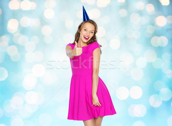 Feliz mulher jovem menina adolescente festa boné pessoas Foto stock © dolgachov