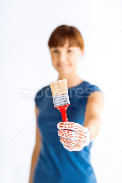 woman with paintbrush Stock photo © dolgachov