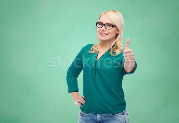 Stockfoto: Jonge · vrouw · bril · tonen · visie · optica