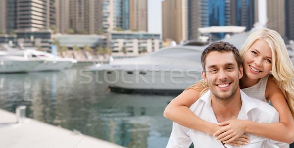 Felice Coppia Dubai città porto Foto d'archivio © dolgachov