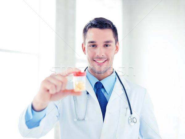 男性医師 jarファイル カプセル 画像 小さな 家族 ストックフォト © dolgachov