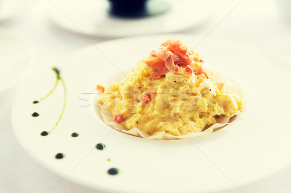 close up of restaurant dish on table Stock photo © dolgachov