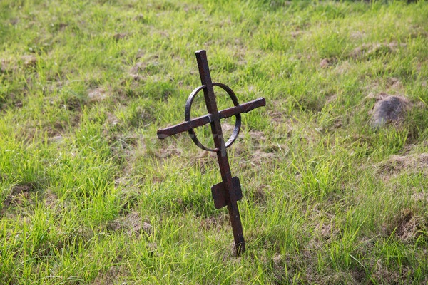 old rusty grave cross on cemetery in ireland Stock photo © dolgachov