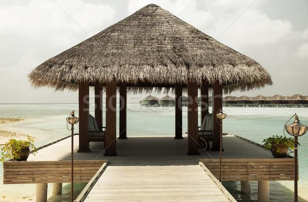 Patio terras strand zee wal reizen Stockfoto © dolgachov