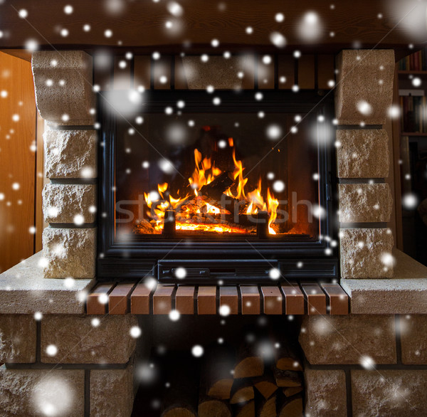 Palenie ognisko śniegu zimą christmas Zdjęcia stock © dolgachov