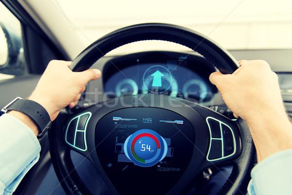 Homme conduite voiture volume niveau Photo stock © dolgachov