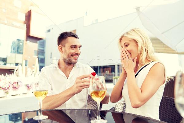 человека обручальное кольцо предложение женщину любви Сток-фото © dolgachov